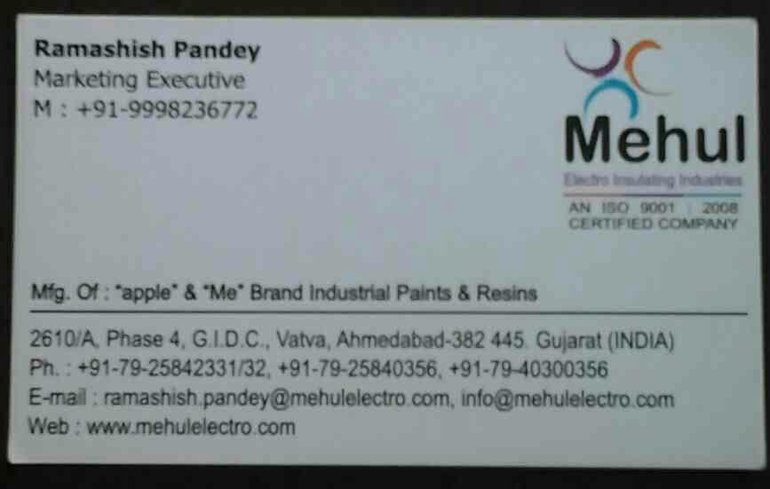 """Mehul Electro Insulating Industries is Manufacturer of """" Apple """" & """" Me """" Brand Industrial Paints & Resins - by MehulElectro, Ahmedabad"""