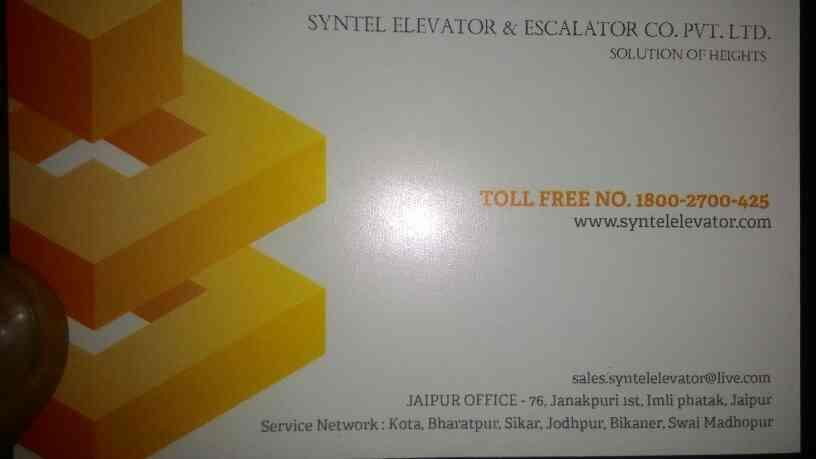 SYNTEL ELEVATOR is leading elevators sales and services provider in Jaipur - by SYNTEL ELEVATOR & ESCALATOR CO.PVT LTD, Jaipur