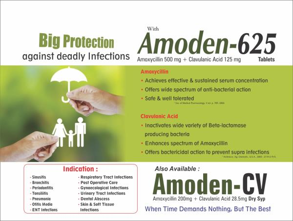 AMODEN 625 is an antibiotic in a group of drugs called penicillins.  AMODEN 625 is used to treat certain infections caused by bacteria, including infections of the ears, lungs, sinus, skin, and urinary tract. Amoxicillin is in a class of me - by Medilock Healthcare, Ahmedabad