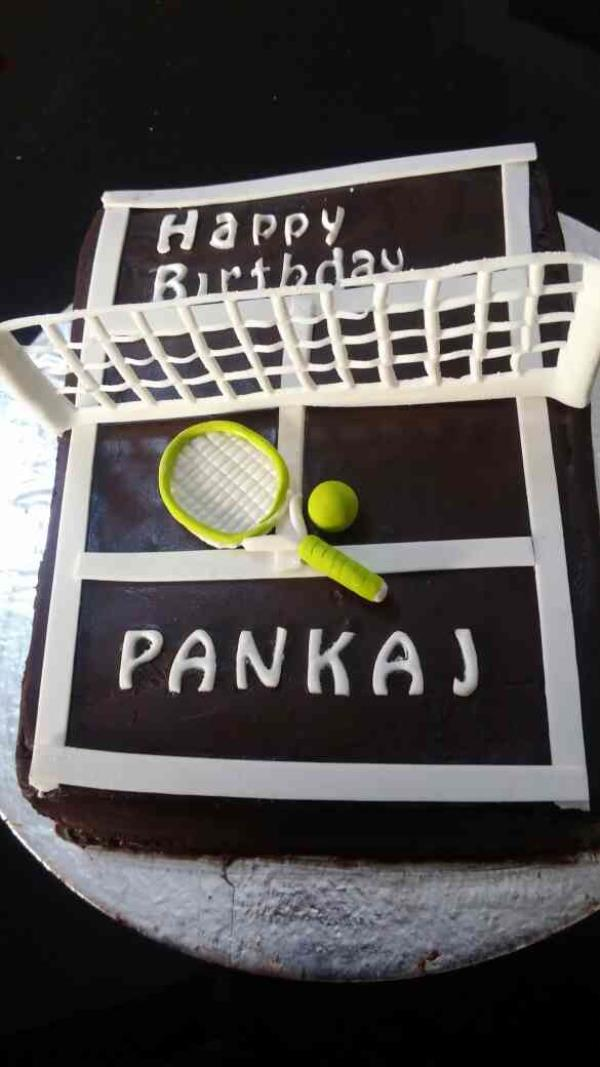 want to play tennis on this ganache fondant chocolate cake??? - by Akki Cups And Cakes, Ahmedabad