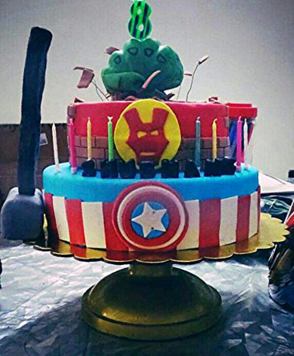 chocolate and orange truffle cake fr an 8 yr old's Avengers themed bday party - by Akki Cups And Cakes, Ahmedabad