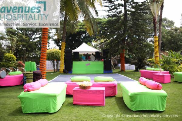 top wedding planner in bangalore  Fairly Tale wedding in the lush lawns & blue pool at The Satori garden just made the evening magical. The mantap was completely different made in twigs with beautiful white and pink flowers on it.  wedding  - by avenueshospitality, Bangalore