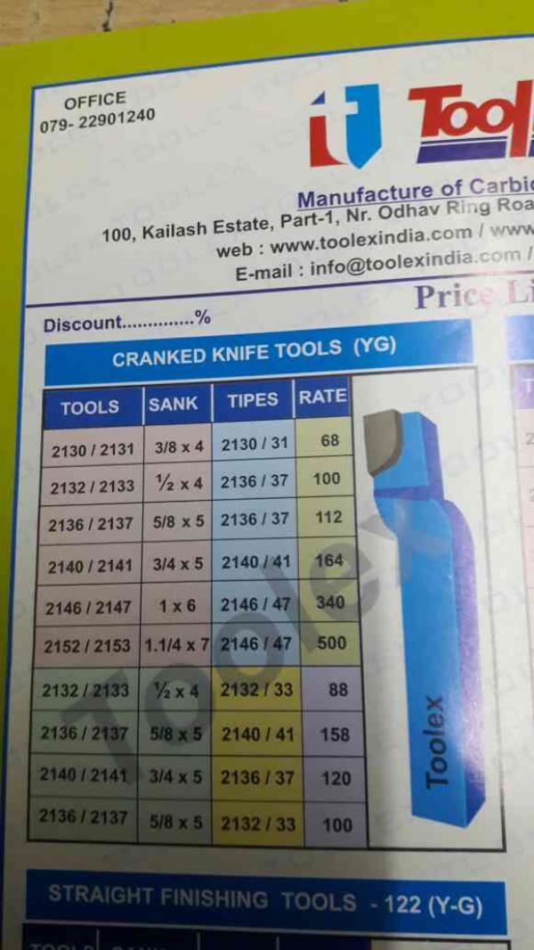 All type of cranked knife tools - by Toolex Machine Tools Pvt Ltd/ Max India, Ahmedabad