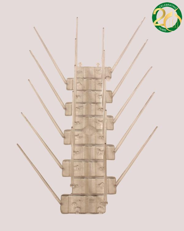 Bird Spikes to control Pigeon Menace, which can be installed easily on roof ledges, building projections, sign posts, trusses, statues, beams, also inside area, help to eradication of all type of birds especially effective on Pigeon Control - by Hughes & Hughes Chem Ltd, Delhi