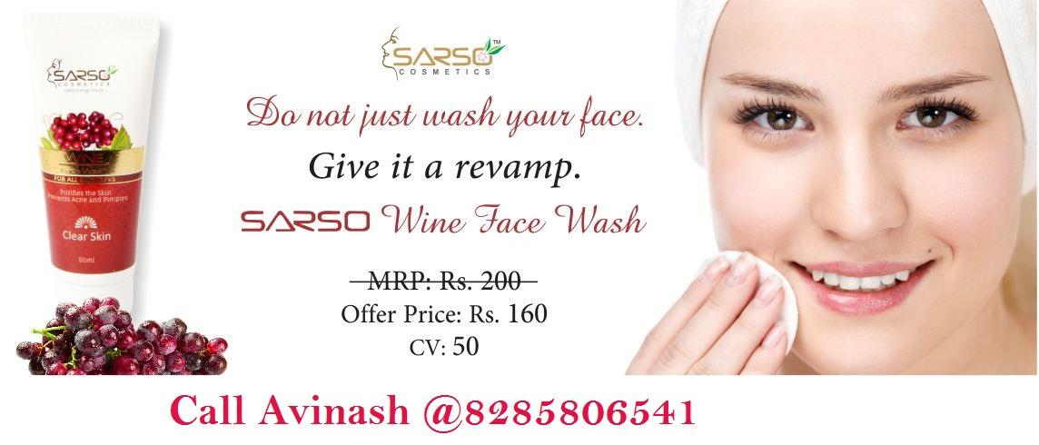 Many people are searching a solution for their oily skin but they are unable to find a perfect solution. but, today we are giving you a perfect solution for your oily skin use wine face wash if you want to buy sarso wine face wash online or - by SARSO - Shop & Earn @8285806541, 7876636629, Delhi