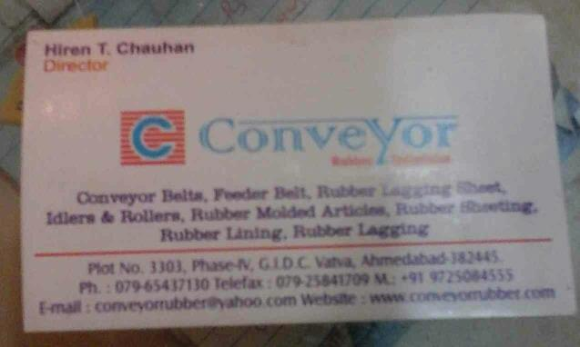 Conveyor Rubber Industries is manufacturer of feeder belts, conveyor belts, rubber lagging sheet, Idlers & Rollers.Also we are manufacturer of Rubber Molded Articles, Rubber Sheeting, Rubber Lining, Rubber Lagging & Many more Rubber Lining  - by Conveyor Rubber Industries, Ahmedabad