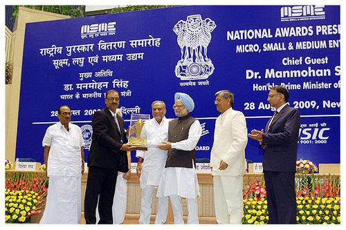 MSME National Award Winner 1st Prize - Outstanding Entrepreneur of the year 2008. Mr. A.K. Nehra - Director, BELZ INSTRUMENTS PVT. LTD.  Award presented by Hon. Prime Minister Dr. Manmohan Singh at Vigyan Bhawan, New Delhi on 28th Aug. 2009 - by Belz Instruments Private Limited, Faridabad, Faridabad