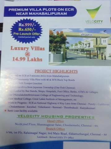Plots for Sales at Ponneri. - by Velocity Housing 9176407003, Chennai