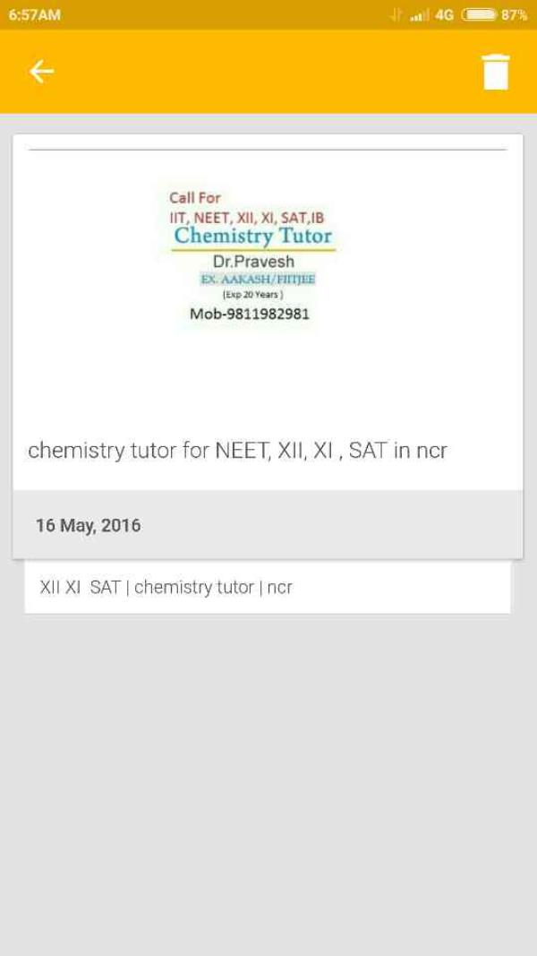 call chemistry tutor Dr pravesh 9811982981for NEET, XII, XI , SAT in South Delhi   - by Chemistry Specialists, New Delhi