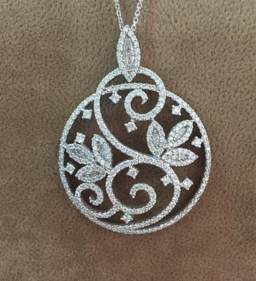 Floral Wave Pendant Set in 18 Kt white Gold  with Diamonds - by Shree Hari Jewels, Surat
