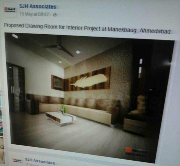 proposed drawing room at interior design project at manekbaug, ahmedabad. - by SJHASSOCIATES, Ahmedabad