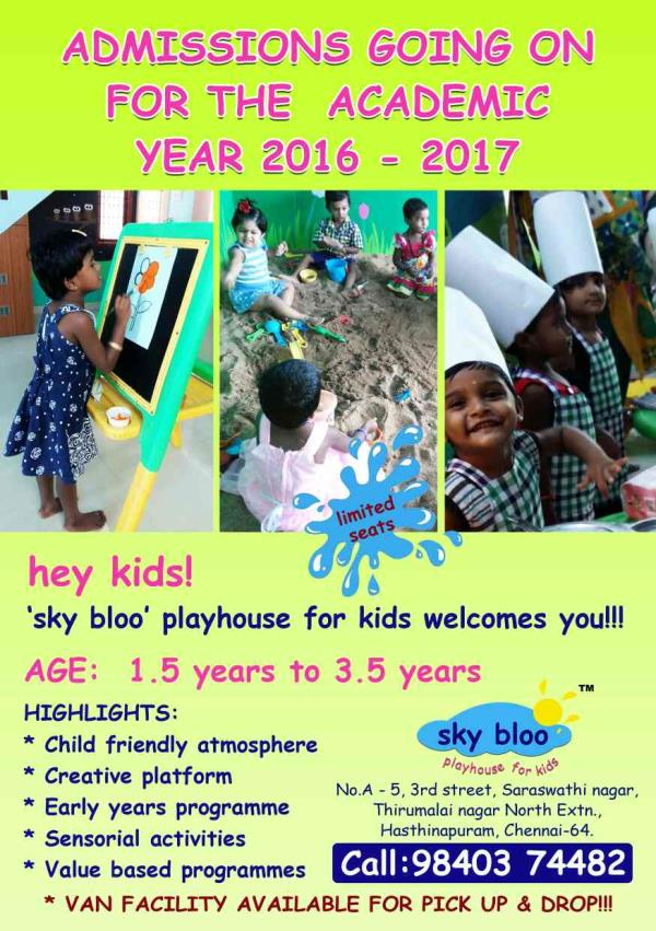 ADMISSIONS GOIN ON! - by sky bloo playhouse for kids, chennai