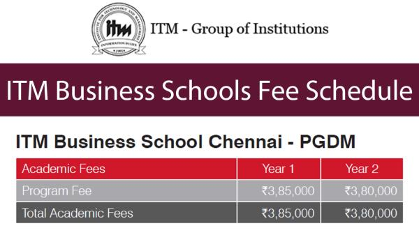 Notes:  *  As the Chennai campus is situated in an IT Park, there is a lack of food outlets close to the campus. Hence, Meal Plans for all students. Breakfast, Lunch and High Tea are served on all working days during the academic year. The  - by ITM CHENNAI, Chennai