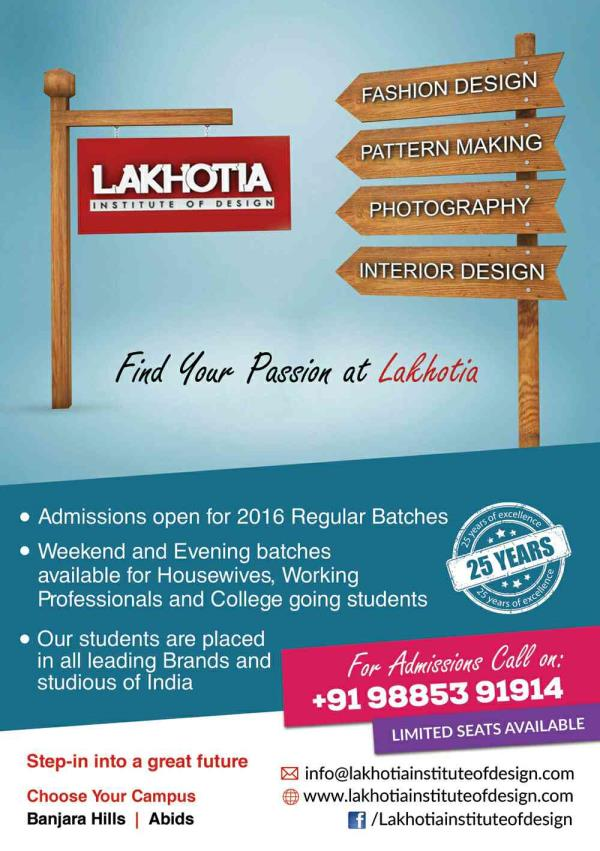 Top Fashion, Interior Design, Fashion Photography, Pattern Making, Modelling, Air Hostess Training, Hotel Management Institute of Hyderabad  - by Lakhotia institute of Design , Hyderabad