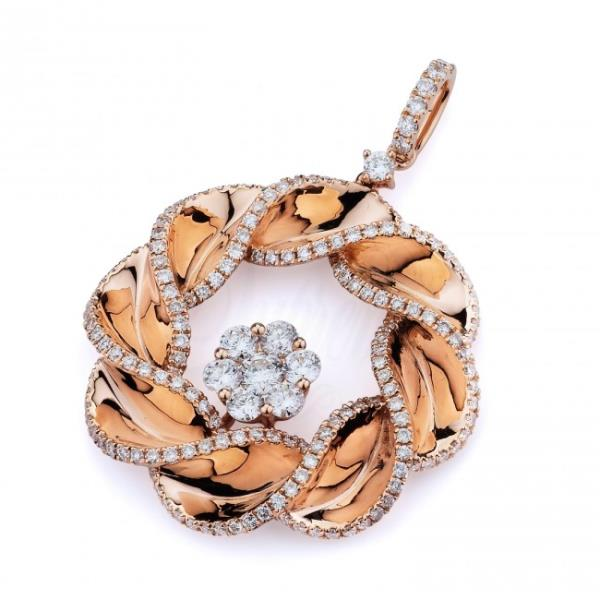 Sisyrin Sparkle Pendant with Brilliant Diamond set in 18 Kt Rose Gold   - by Shree Hari Jewels, Surat