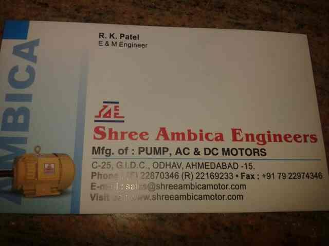 we are leding supplier of electric motor and parts and.pimp and sub mersible pump in ahmedabad. - by Shree Ambicaahd, Ahmedabad