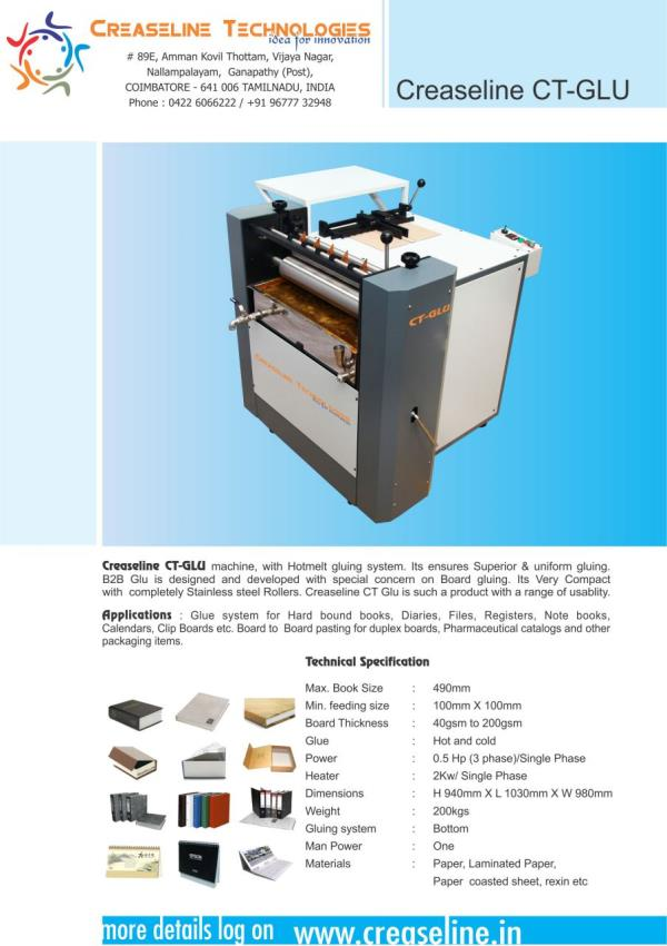 Gluing Machine Supplier In India  Low Cost Gluing Machine In India  Gluing Machine Supplier In India  Gluing Machine Manufacturing In India  Quality Gluing Machine Manufacturing In India - by Creaseline Technologies, Coimbatore