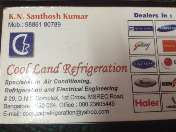 Cool land refrigeration in mathiker - by Cool Land Refrigeration, Bangalore