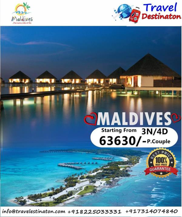 Maldives-3N/4D Starting from 63630/-                                                Inclusions :  * Accommodation with Full Board  * Return Transfers (Speed Boat)- SIC - by Travel Destinaton, Indore