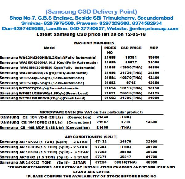 CSD SEC.BAD UPDATED PRICE LIST FOR SAMSUNG WASHING MACHINES, MICRO WAVES & AIR CONDITIONERS-APR'16 - by JJ ENTERPRISES, Hyderabad