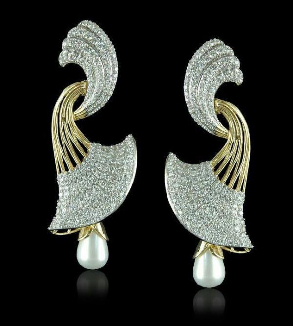 Aspen Hoop Earrings Set in 18 Kt Yellow Gold with Diamonds & pearl - by Shree Hari Jewels, Surat