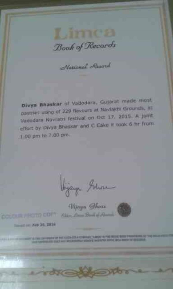 we have limca book of world records in making 290 different pastry in just 4 hours - by C4Cake, Ahmedabad