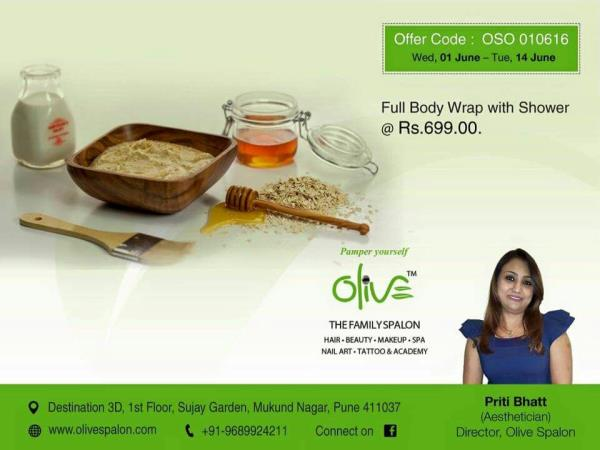 Take care of you body.  At the end of the day (for that matter even in the beginning of the day) it is the only place you have to live!  Full body wrap with shower @ ₹ 699/-.  Please call Aesthetician Ms. Priti Bhatt today +91 9689924211.   - by Olive Spalon, Pune