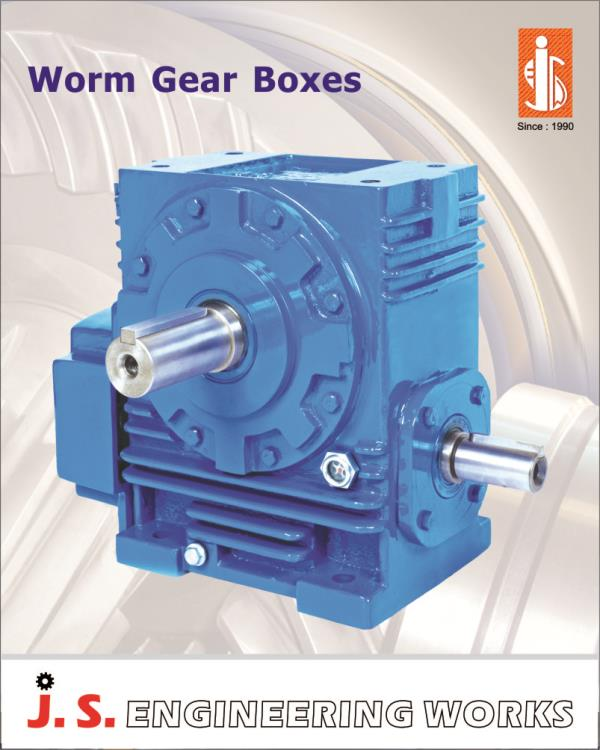 """sizes:  1.75"""" to 14"""" Power capacity:  Up to 75 KW Ratio:  single reduction: 10:1 to 80:1              Double reduction: up to 4900:1 Different position & Additional changes:  Foot mounted, vertical output shaft up / down, input hollow, outp - by J S Engineering Works, Ahmedabad"""