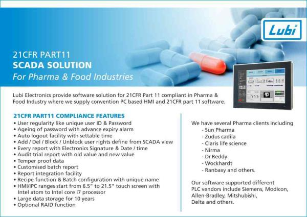 21 CFR PART 11 PHARMA SOLUTION - by Lubi Electronics , Ahmedabad