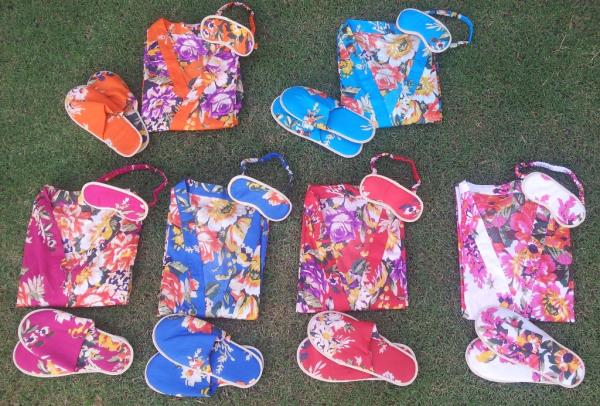 Order matching set of Bridesmaid robes, flip flops, eye mask. Find the best quality cotton robes in US. These are floral robes custom made for your special occasion - by PINKS's PRETTY, Jaipur