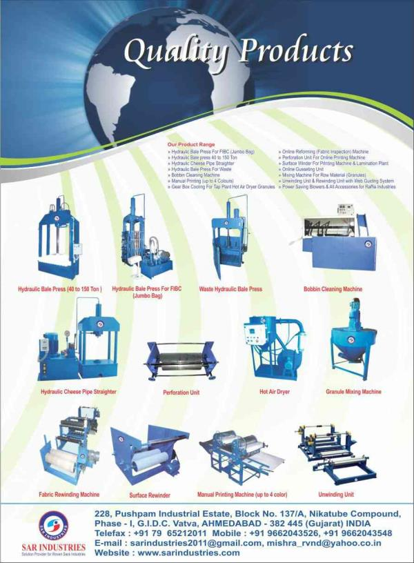 We SAR MACHINES PVT LTD is one of the best manufacturer and suppliers of hydraulic bale press, hydraulic cheese pipe straighter, hydraulic bale press for waste, online printing machines in Ahmedabad Gujarat India  - by SAR MACHINES PVT LTD, Ahmedabad