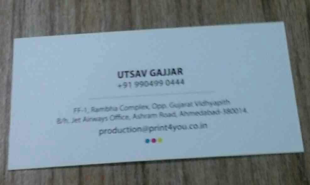 We also provide valuable services like marketing collaterals, indoor-outdoor branding.We had been master in printing Business Visiting Cards. - by Print4You, Ahmedabad
