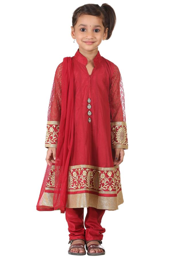 Buy Ashwini Girls Netted Embroidery Red Salwar  for Girls from age 2-8 years at http://Singlekart.com/ Currently available for Customers in Bangalore. #singlekart RHClothing                             http://www.singlekart.com/Salwar-Suits - by Rohit Garments, Bengaluru