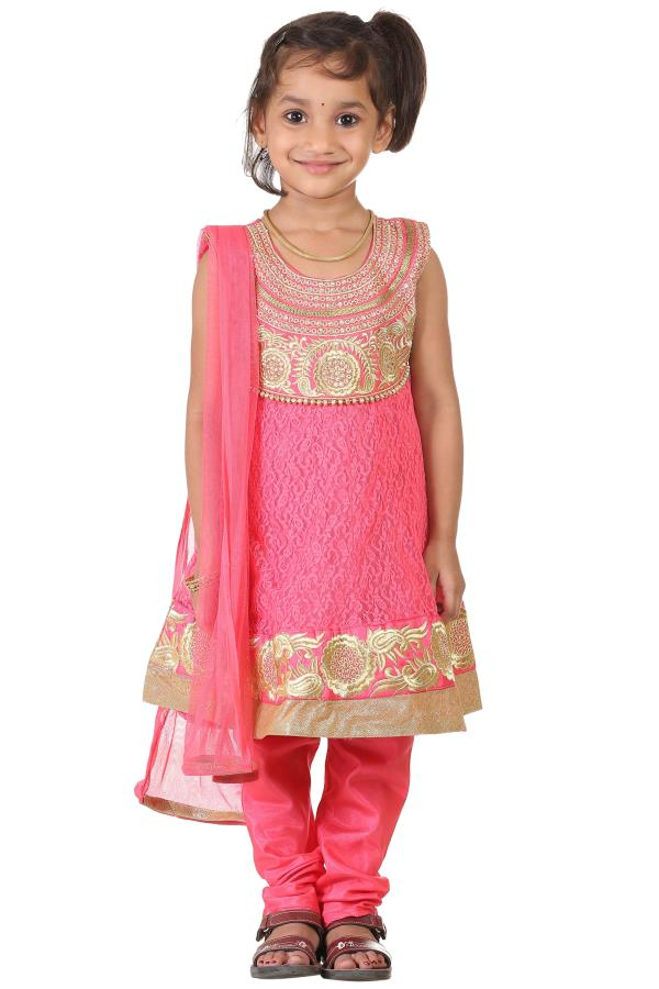 Buy Ashwini Girls Netted Embroidery Pink Salwar for Girls from age 2-8 years at http://Singlekart.com/ Currently available for Customers in Bangalore. #singlekart RHClothing                    http://www.singlekart.com/Salwar-Suits/Ashwini- - by Rohit Garments, Bengaluru