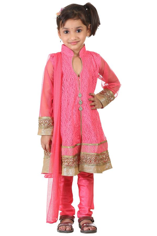 Buy Ashwini Girls Netted Embroidery Pink Salwar for Girls from age 2-8 years at http://Singlekart.com/ Currently available for Customers in Bangalore. #singlekart RHClothing                           http://www.singlekart.com/Salwar-Suits/A - by Rohit Garments, Bengaluru