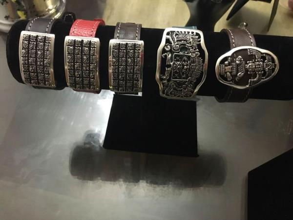 New silver and leather bracelets  - by A Mayan Tik, Nye County