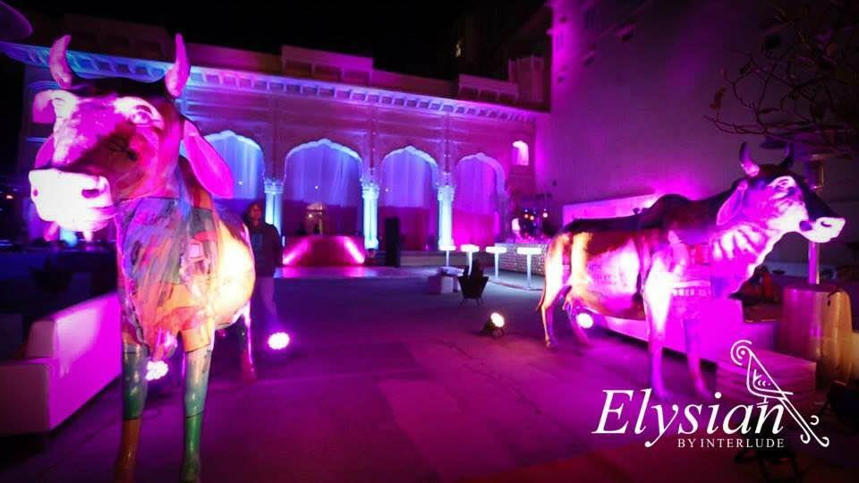 Kitsch- Bollywood theme sangeet at Samode Palace   - by Elysian weddings, New Delhi