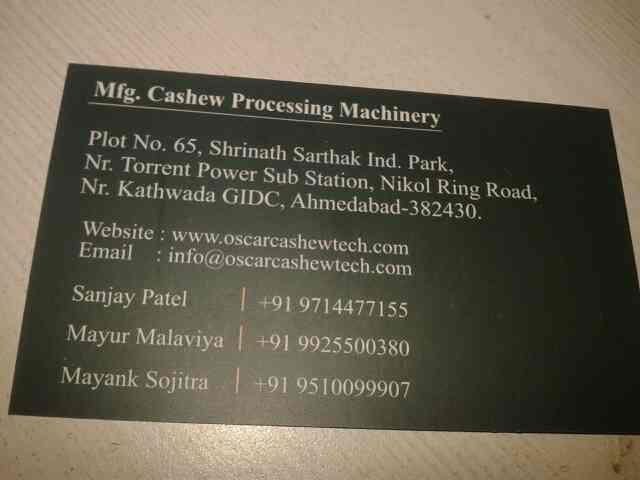 supplier od cashew machine like  cutting machine in ahmedabad  - by Oscar Cashew, Ahmedabad