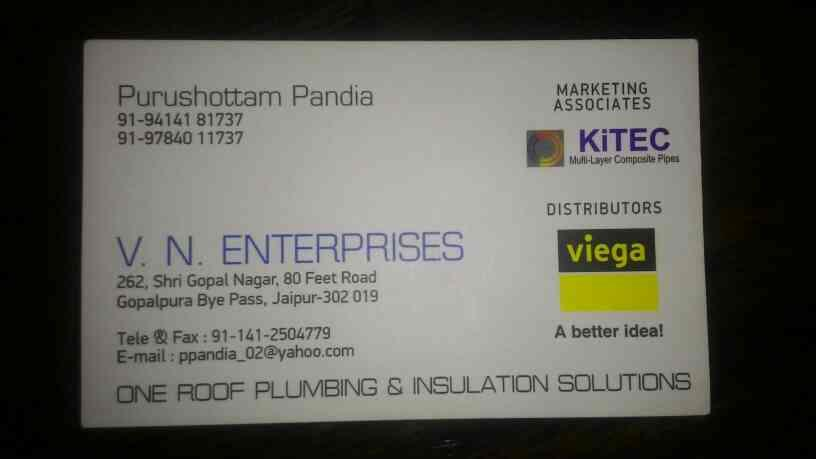 KiTEC pipe and Viega  authorised distributor in Rajasthan - by VN ENTERPRISES, JAIPUR