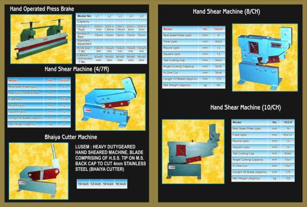 we are manufacturer of best hand shear machines in rajkot - by Steel Cut Industries, Rajkot