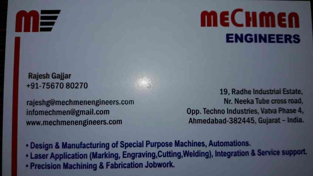 This is our visiting Card - by Mechmen Engineers, Ahmedabad