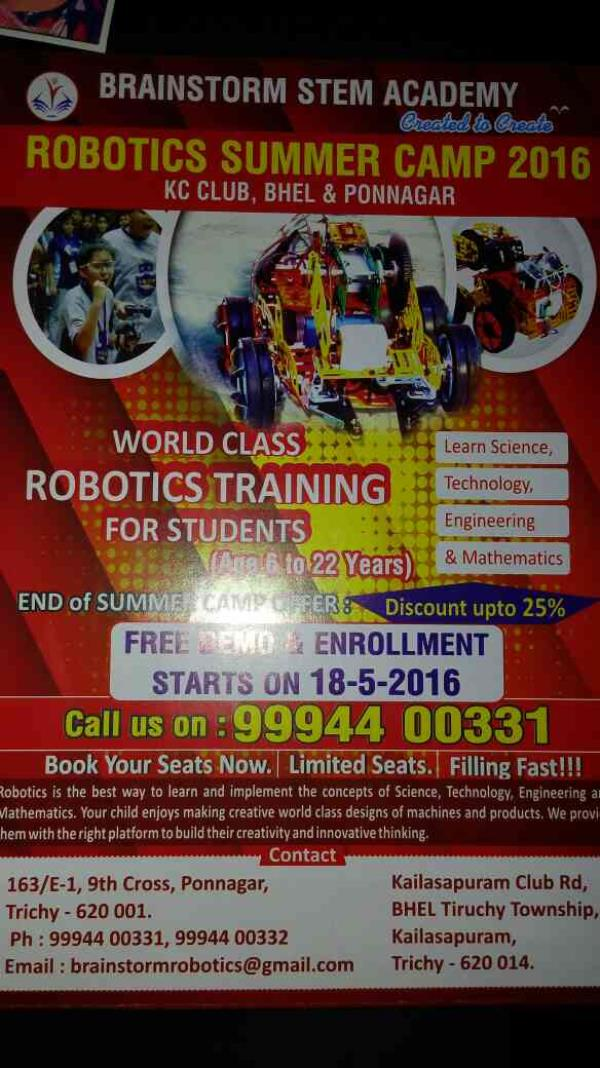 World class robotic traing for students in the age group 6 to 22 yrs... best robotics traning will be provided...  - by Brainstrom Education, Trichy