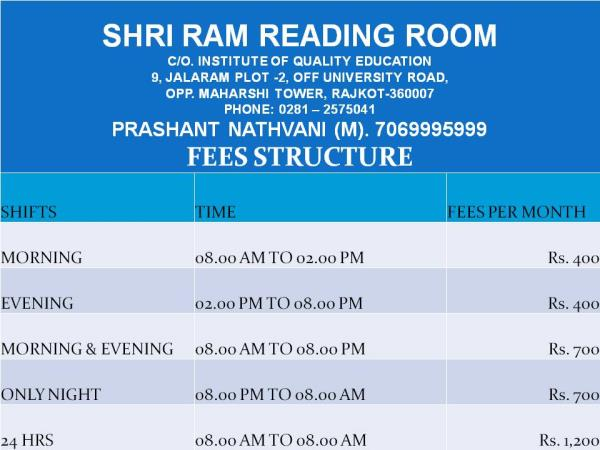 OUR NEW ADDRESS  SHRI RAM READING ROOM C/O. INSTITUTE OF QUALITY EDUCATION 9, JALARAM PLOT -2, OFF UNIVERSITY ROAD,  OPP. MAHARSHI TOWER, RAJKOT-360007 PHONE: 0281 - 2575041 - by shri ram reading room, rajkot