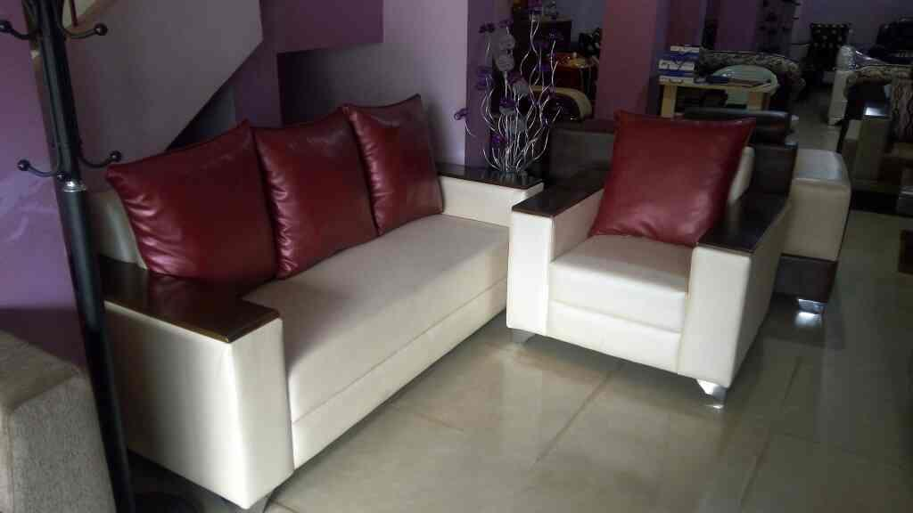 New arrival box sofa with wooden arms.  - by Poonam Furnitures, Belgaum