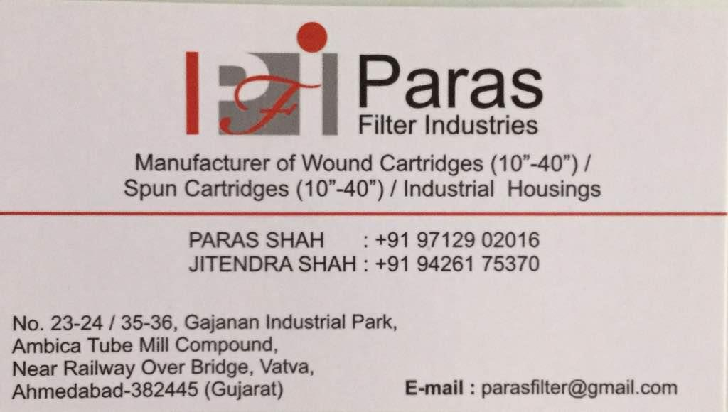 Plz contact for best quality of wound cartridges, Spun Cartridges, industrial housing in Ahmedabad Gujarat India  - by PARAS FILTER INDUSTRIES, Ahmedabad