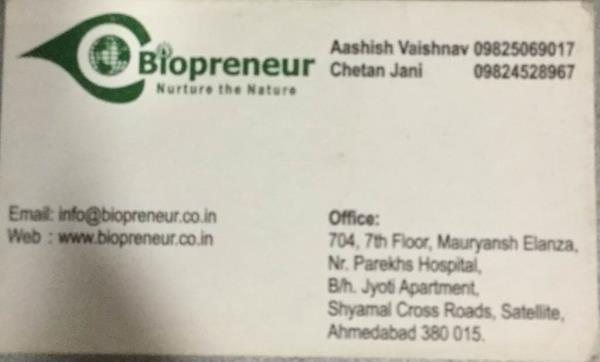 Plz contact for our products for biopreneur  - by BIOPRENEUR, Ahmedabad