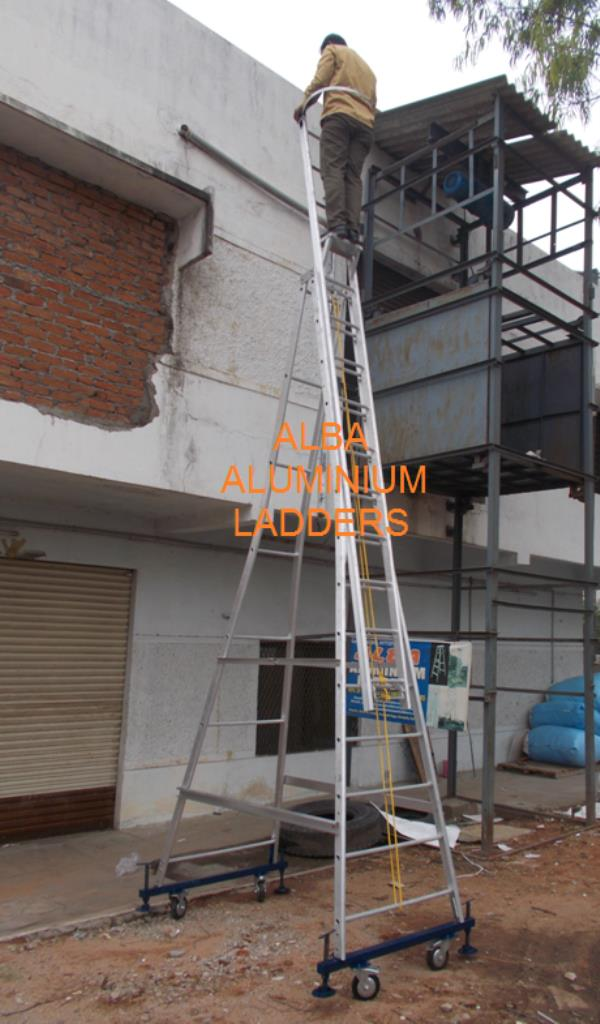 Star Self Supporting Extension Ladders (With 4 Wheels & Jacks)  Self Supporting Extension Ladders (With 2 Wheels)  Self Supported Telescopic Ladder (With 4 Wheels & Jacks)  Closing Height 12'feet and Extended Height 21'feet.  Alba Made Ladd - by Alba Aluminium Ladders, Hyderabad