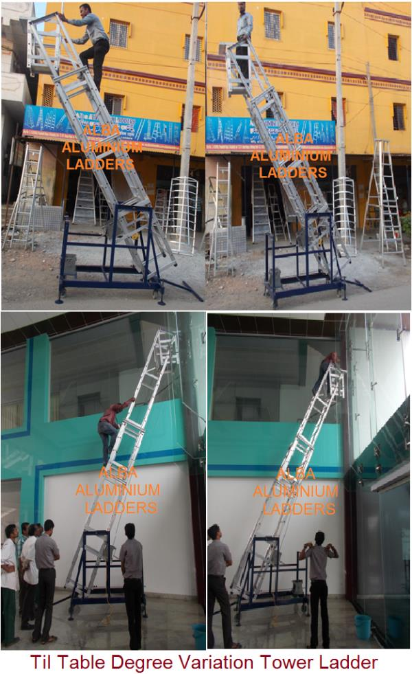 Degree Variation Tower Ladder,  TIL TABLE TOWER EXTENDABLE LADDER,  Tower Ladder With folding Platform,  Incl ant Tower Ladder Model no 0107   Designed specifically to meet the requirement of all Industrial Maintenance,  Today, the quality  - by Alba Aluminium Ladders, Hyderabad
