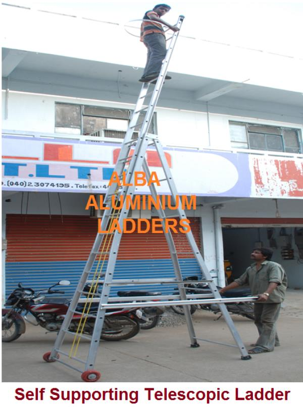 Economy Tower Extendable Ladder  Futuristic Plat Form lift ladder  Economy Ladder Model No: 0200  Economy Alluminium Tower Ladder  We are loking Aluminum Extendable Tower Ladder Tiltable  with Gear Box lowering of ladder. Step 25.00 mm Dia  - by Alba Aluminium Ladders, Hyderabad