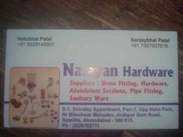 We are one of the supplier's of Brass Fittings #Hardware #Aluminium Sections #Pipe Fittings # Sanitary Ware Please Conatct - by Narayan Hardware, Ahmedabd